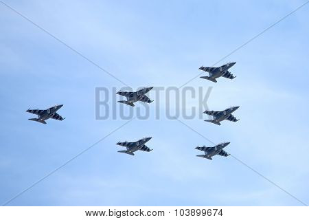 Six Russian military trainer subsonic attack planes SU-25 UTG Rook in flight