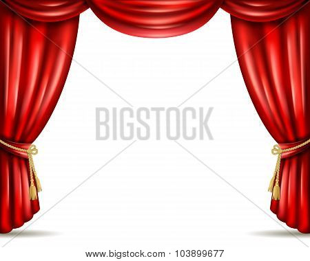 Theater curtain open flat banner illustration