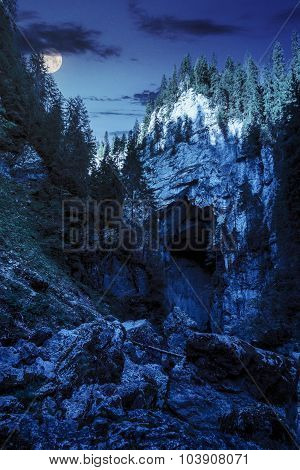 Cetatile Cave Sculpted By River In Romanian Mountains At Night