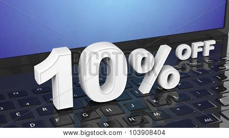 10% off white 3D numbers on black laptop keyboard