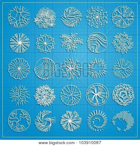 A Set Of Treetop Symbols, For Architectural Or Landscape Design.