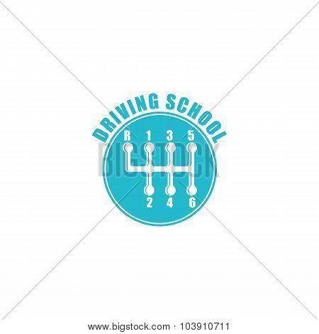 Driving School Logo, Six Gearshift Knob Blue Emblem, Auto Icon