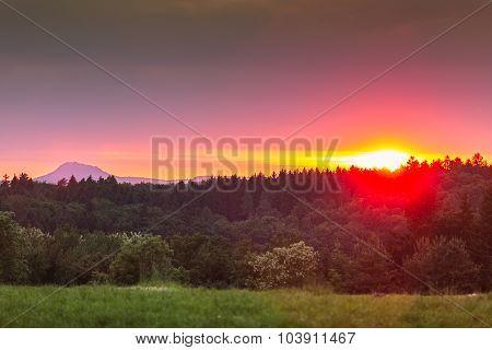 Vibrant sunset around Lake Constance, Germany