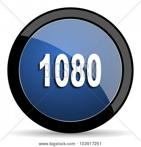 1080 blue circle glossy web icon on white background, round button for internet and mobile app
