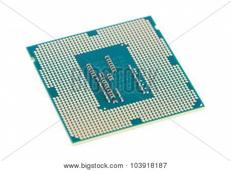 Computer processor chip (CPU) isolated on white