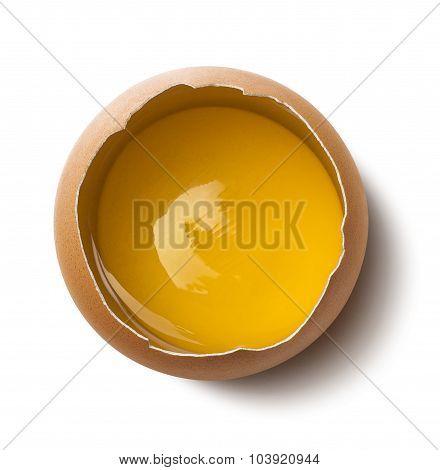 Single Fresh Egg Yolk On White Background