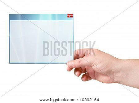 computer window in human hand over white