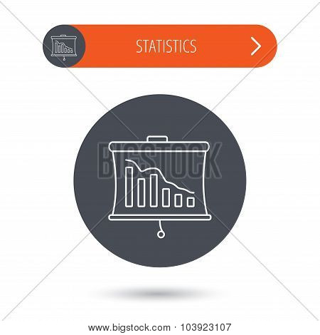 Statistic icon. Presentation board sign. Defaulted chart symbol. Gray flat circle button. Orange button with arrow. Vector poster