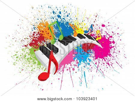 Piano Wavy Keyboard Paint Splatter Abstract Illustration