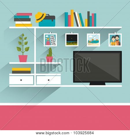 Living Room With Television And Book Shelves.