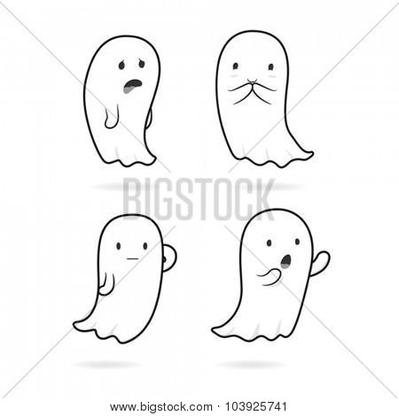 Cute ghost black line art