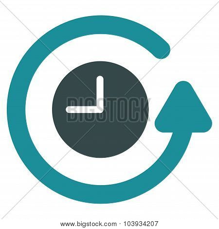 Restore Clock vector icon. Style is bicolor flat symbol, soft blue colors, rounded angles, white background. poster