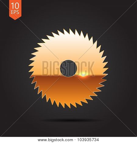 Vector gold circular saw icon on dark background poster