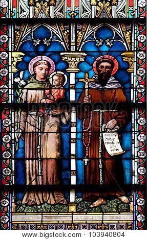 NOVO MESTO, SLOVENIA - JUNE 30: Stained glass window in Cathedral of St Nicholas in Novo Mesto, Slovenia on June 30, 2015
