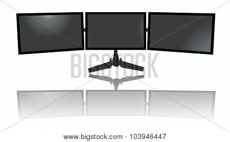three wide monitors, triple, tv, flat vector illustration