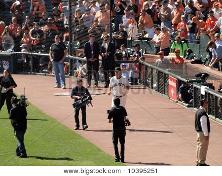 Giants Manager Bruce Bochy Runs Out On To The Field During Pregame Intros