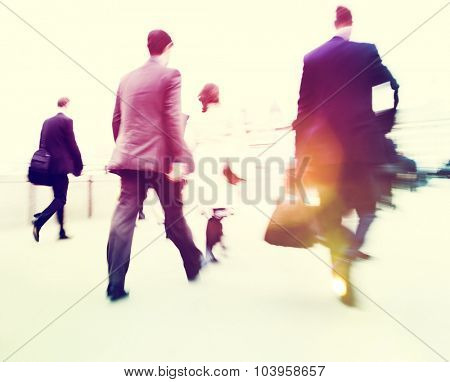 Commuter Business People Commuter Crowd Walking Concept poster