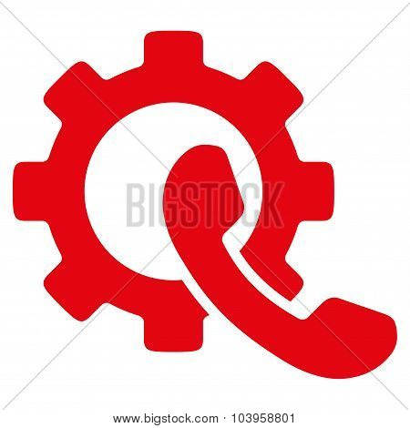 Phone Configuration vector icon. Style is flat symbol, red color, rounded angles, white background. poster