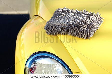 Car with wax and polish cloth. Waxing and polishing.