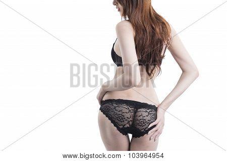 Asian Woman On Blcak Underwear