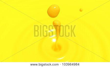 Drop Of Orange Juice Macro With The Focus Effect (drop 2)