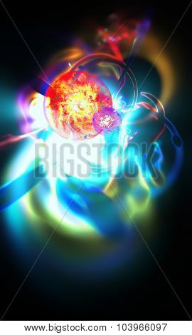 Abstract blurred an astronomical nebula magnetic storm on unstable supernova. Fractal art graphics