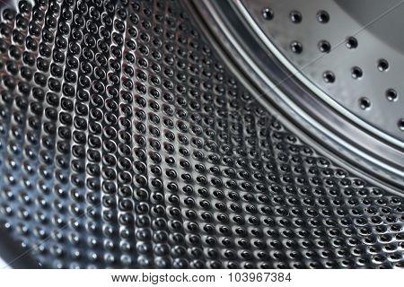Closeup Image Of Washing Machine, Abstract Metallic Texture Background