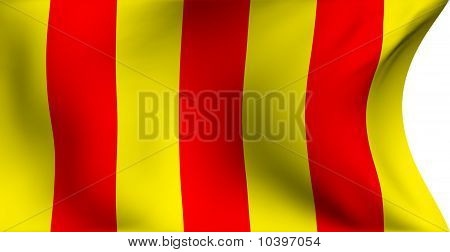 Flag of Foix France against white background. Close up. poster