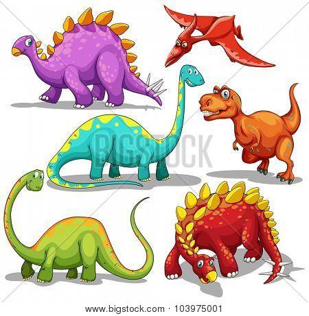 Different type of dinosaurs illustration