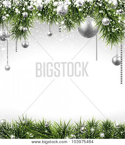 Winter background with spruce twigs and silver baubles. Christmas vector frame with place for text.