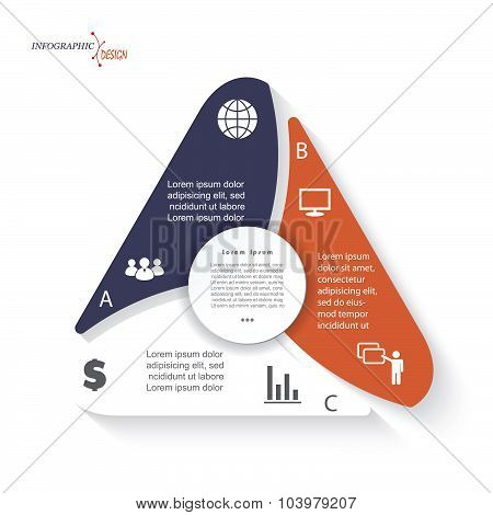 Triangle Infographic With 3 Options Vector Template Can Be Used For Business Presentation