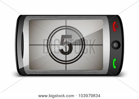 Vector Touch Phone With Countdown On The Screen
