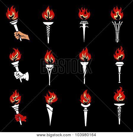 Fire torch icons set. Burn power hot flaming, liberty bright and victory, vector illustration poster