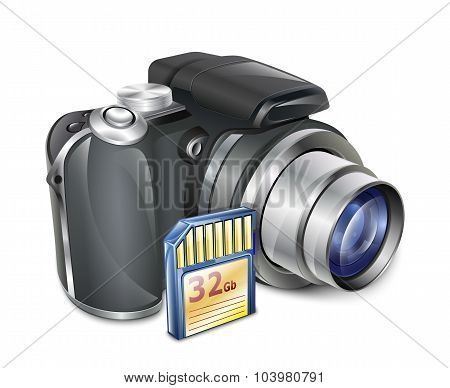 Digital Photo Camera With Memory Card. Vector Illustration