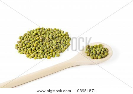 Pile Of Raw Mung Beans, Wooden Spoon On White