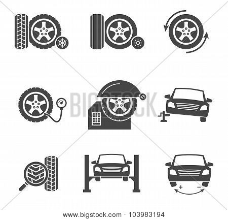 Vector tire wheel service black icons set