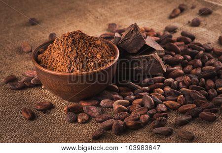 Raw cocoa beans,  powder, chocolate