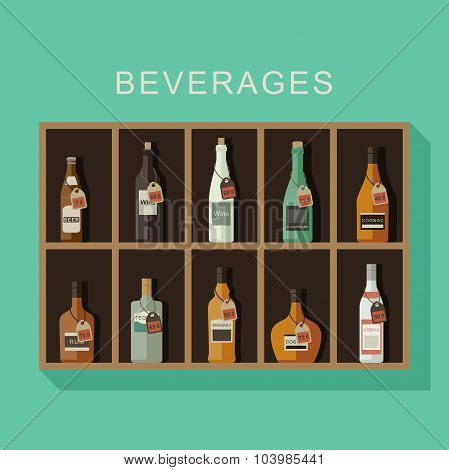 Alcoholic beverages on the shef with price tags poster