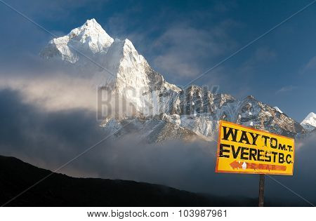 Evening Himalayan Panorama With Mount Ama Dablam
