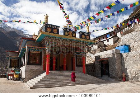 Thamo Gompa Or Buddhist Monastery With Monks