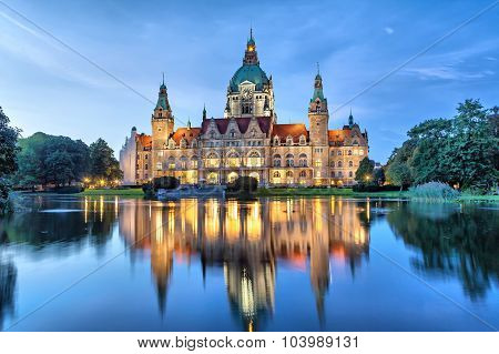 New City Hall Of Hannover In The Evening