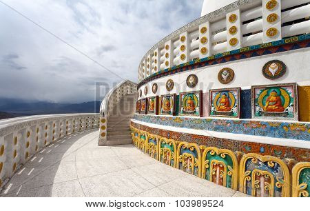 Part Of Tall Shanti Stupa Near Leh