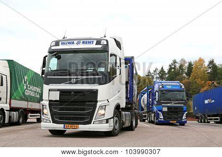 Two Volvo FH Semi Tank Trucks On The Go