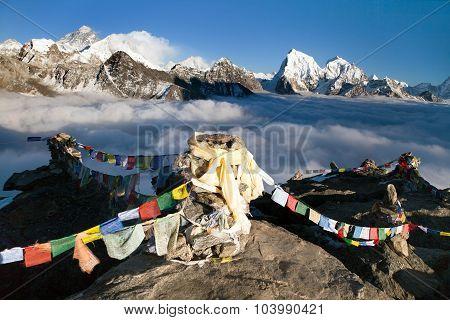 Panoramic View Of Mount Everest, Lhotse And Makalu