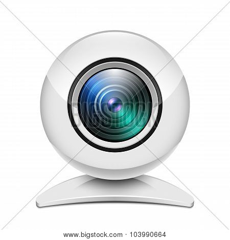 Realistic White Web Camera Icon On White Background