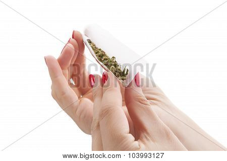 Preparing A Cannabis Joint.