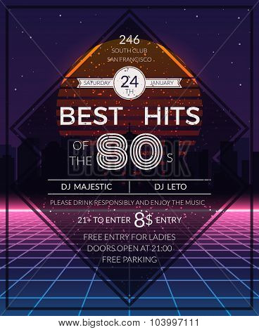 Retro 80s hits party poster