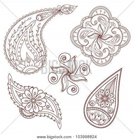 Set of abstract flowers and paisley elements