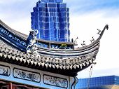 Jin Mao Tower third highest building from Yuyuan Garden Old Town Shanghai China poster