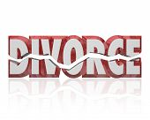 Divorce word in red 3d letters to illustrate a broken marriage or legal separation of husband and wife poster